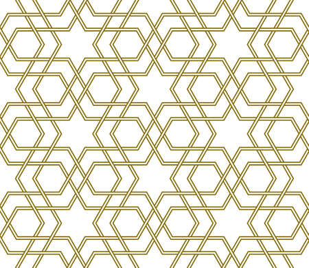 Seamless islamic geometric ornament. Doubled wicker lines.