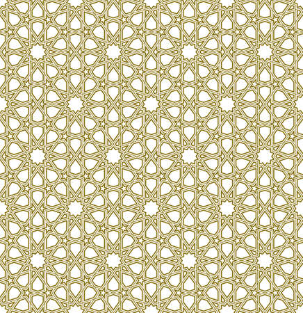 Seamless geometric ornament based on traditional islamic art.Brown color lines.Great design for fabric, textile, cover, wrapping paper, background.Contoured lines.