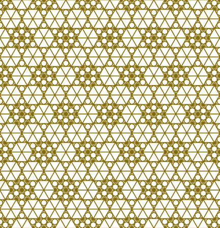 Japanese seamless Kumiko pattern in golden silhouette with thick lines.