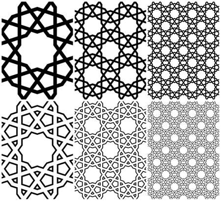 Seamless geometric ornament based on traditional islamic art.Brown color lines.Set single pattern, 2x2,4x4.