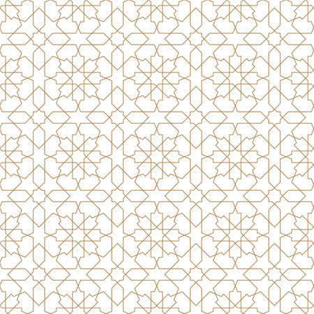 Seamless islamic geometric pattern. Brown color lines. Thin lines.