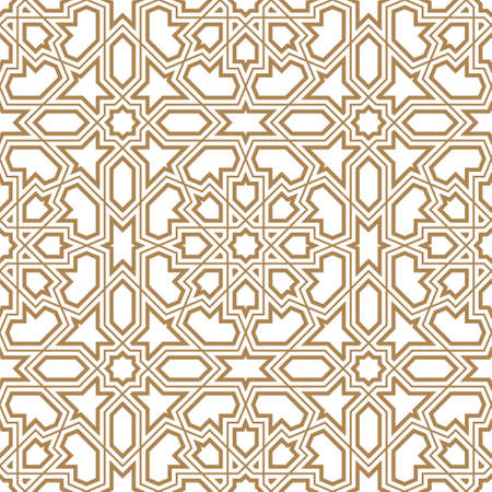 Seamless geometric ornament based on traditional arabic art.Brown color lines.Great design for fabric, textile, cover, wrapping paper, background.Fine and average lines.