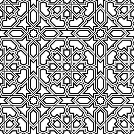 Seamless geometric ornament based on traditional arabic art.Black lines and white background.Great design for fabric, textile, cover, wrapping paper, background.Fine and average lines.