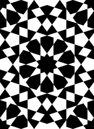 Seamless geometric ornament based on traditional islamic art.Black figures on white background.Great design for fabric, textile, cover, wrapping paper, background. Stock fotó - 155401737