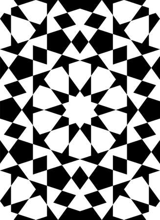 Seamless geometric ornament based on traditional islamic art.Black figures on white background.Great design for fabric, textile, cover, wrapping paper, background. Stock fotó - 155401738