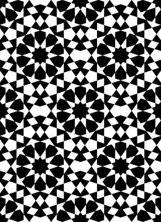 Seamless geometric ornament based on traditional islamic art.Black figures on white background.Great design for fabric, textile, cover, wrapping paper, background. Stock fotó - 155401739