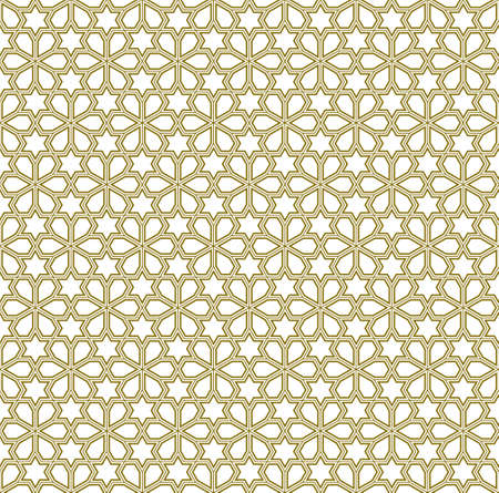 Seamless geometric ornament based on traditional arabic art. Muslim mosaic.Brown color lines.Great design for fabric, textile, cover, wrapping paper, background.