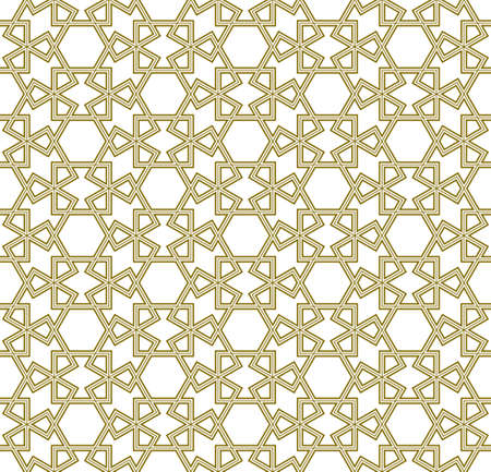 Seamless geometric ornament based on traditional arabic art.Brown color lines.Great design for fabric, textile, cover, wrapping paper, background. Stock fotó - 155401750