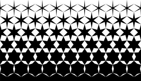 Geometric pattern of black hexagones and stars on a white background. Seamless in one direction. Option with a middle fade out. 7 figures in height. Vector Illustration