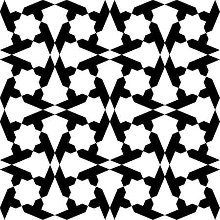 Seamless geometric ornament based on traditional islamic art. White figures on black background. Great design for fabric, textile, cover, wrapping paper, background. Illusztráció