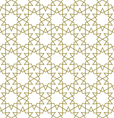 Seamless geometric ornament based on traditional islamic art.Brown color lines.Great design for fabric, textile, cover, wrapping paper, background.Average thickness.