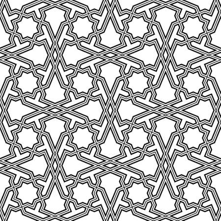 Seamless geometric ornament based on traditional islamic art.Black lines.Great design for fabric, textile, cover, wrapping paper, background.Thin and thick lines.
