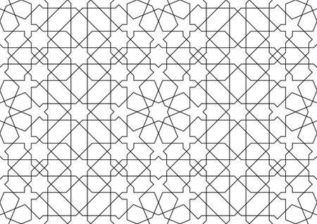 Seamless geometric ornament based on traditional islamic art.Average thickness Black lines.Great design for fabric, textile, cover, wrapping paper, background, laser cutting.