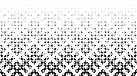 Seamless halftone vector background.Filled with black circles .LONG fade out. Based on Russian traditional ornament. 54 figures in height.