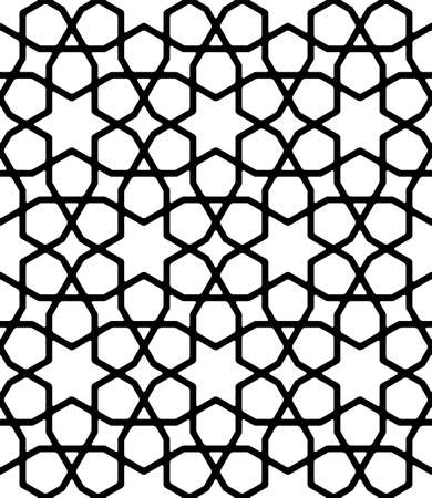 Seamless geometric ornament based on traditional islamic art.Thick Black lines.Great design for fabric, textile, cover, wrapping paper, background, laser cutting.Rounded corners. Ilustracja