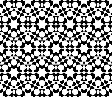 Seamless geometric ornament based on traditional islamic art.Thick Black lines.Great design for fabric, textile, cover, wrapping paper, background, laser cutting.Rounded corners. 矢量图像