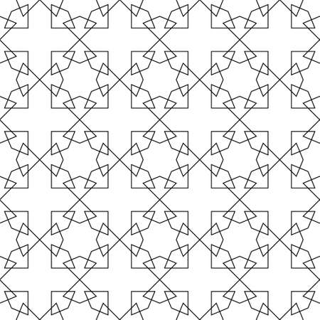 Seamless geometric ornament based on traditional islamic art.Black and white.Great design for fabric, textile, cover, wrapping paper, background, laser cutting.Thin lines.