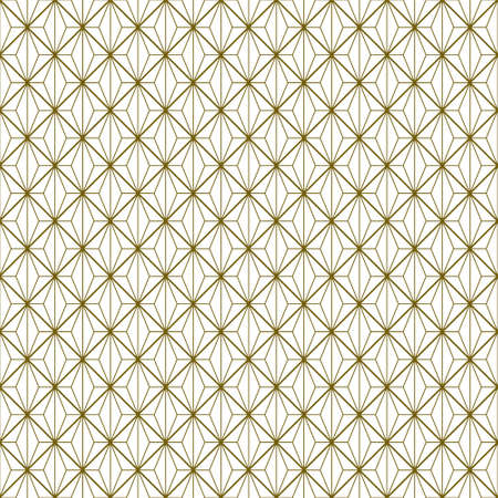 Japanese seamless Kumiko pattern in golden with average and fine thickness lines. Standard-Bild - 161768343