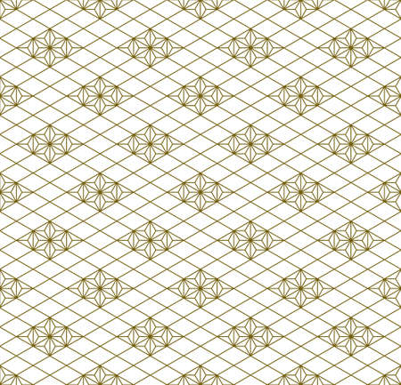 Japanese seamless Kumiko pattern in golden with average thickness lines. Standard-Bild - 161768347