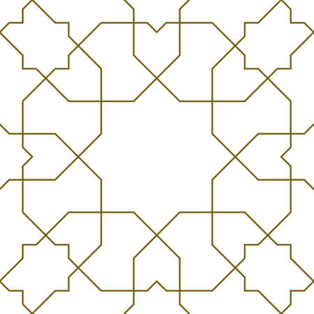 Seamless geometric ornament based on traditional islamic art.Brown color lines.Great design for fabric, textile, cover, wrapping paper, background.Thin lines.1x1 pattern.