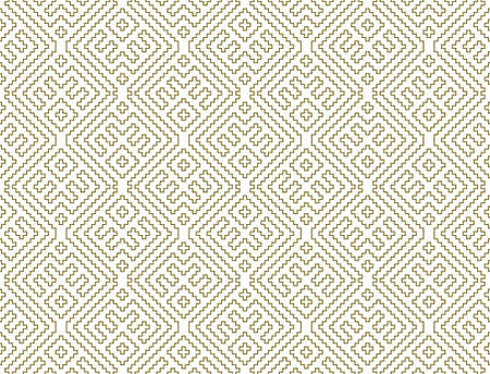 Seamless geometric ornament based on traditional Russian embroidary art. Brown color lines. Great design for fabric, textile, cover, wrapping paper, background. Contoured lines.