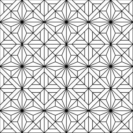 Japanese seamless Kumiko pattern in black. Fine lines. Vetores