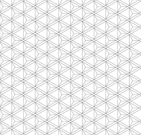 Japanese seamless Kumiko pattern in black. Fine lines.