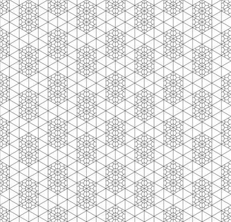 Seamless pattern in style Kumiko zaiku in black lines. Fine lines.