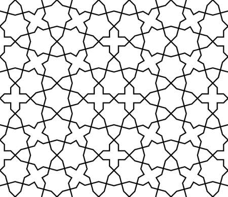 Seamless geometric ornament based on traditional islamic art.Black and white lines.Great design for fabric, textile, cover, wrapping paper, background, laser cutting.Average thickness lines. Illusztráció