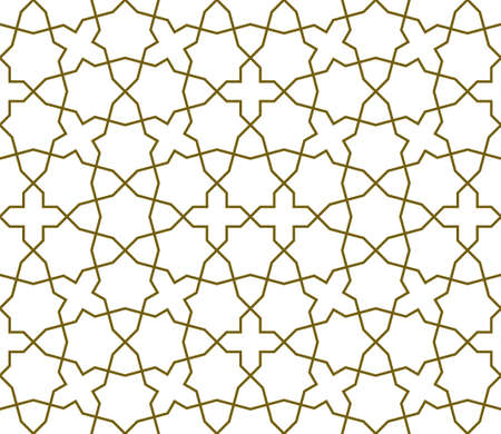Seamless geometric ornament based on traditional islamic art.Brown color lines.Great design for fabric, textile, cover, wrapping paper, background.Average thickness lines. Illusztráció