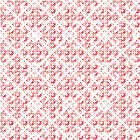 Seamless traditional Russian and slavic ornament embroidered cross-stitch.