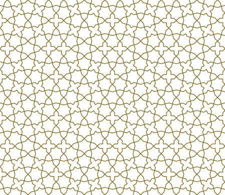 Seamless geometric ornament based on traditional islamic art. Brown color lines. Average thickness lines.