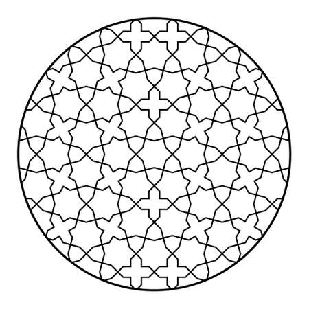 Seamless geometric ornament based on traditional islamic art.Black and white lines.Great design for laser cutting.Pattern in circle. Average thickness lines. Illusztráció