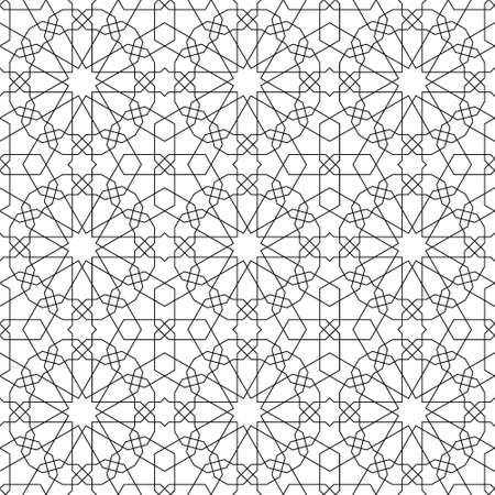 Seamless geometric ornament based on traditional islamic art.Black color lines.Great design for fabric, textile, cover, wrapping paper, background. Fine lines. Illusztráció