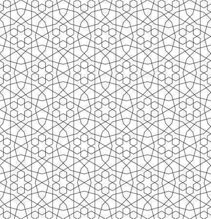 Seamless geometric ornament based on traditional islamic art.Black color lines.Great design for fabric, textile, cover, wrapping paper, background. Average thickness lines. Illusztráció
