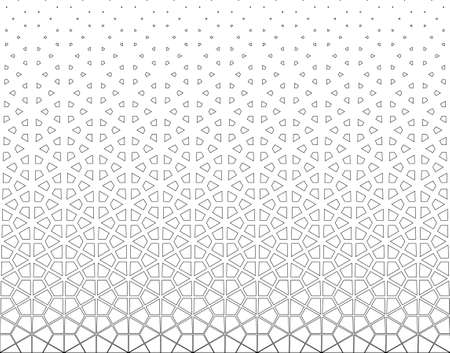 Disappearing pattern in japanese style kumiko.Black contoured figurs on a white background.Seamless in one direction.Option with a MIDDLE fadeout. 58 elements in height.