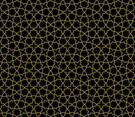 Seamless geometric ornament based on traditional islamic art.Brown color lines.Black background .Great design for fabric, textile, cover, wrapping paper, background.Average thickness lines.