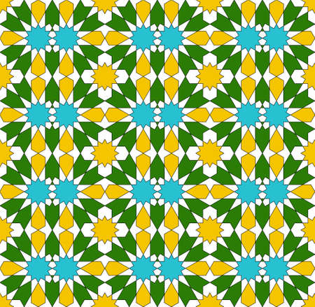 Seamless geometric ornament based on traditional islamic art. Yellow, blue, green and white colors.