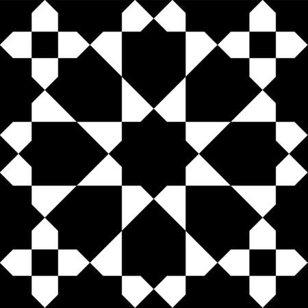 Seamless geometric ornament based on traditional islamic art. Black and white. Great design for fabric, textile, cover, wrapping paper, background.