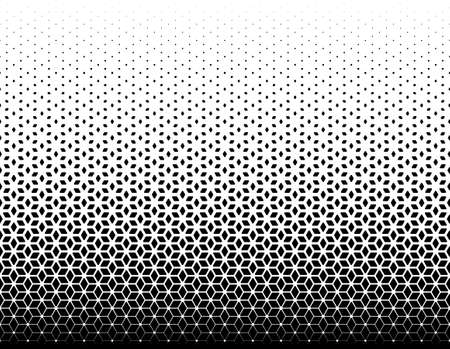 Seamless halftone vector background. Filled with black figures with rounded corners. 87 figures in height.