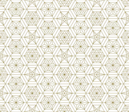 Japanese seamless Kumiko pattern in golden with fine lines.A combination of four types of ornaments. Illusztráció