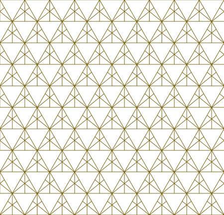 Japanese seamless Kumiko pattern in golden with fine lines. Illusztráció