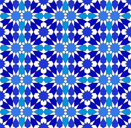 Seamless geometric ornament based on traditional islamic art. .Great design for fabric, textile, cover, wrapping paper, background.Blue and white colors.