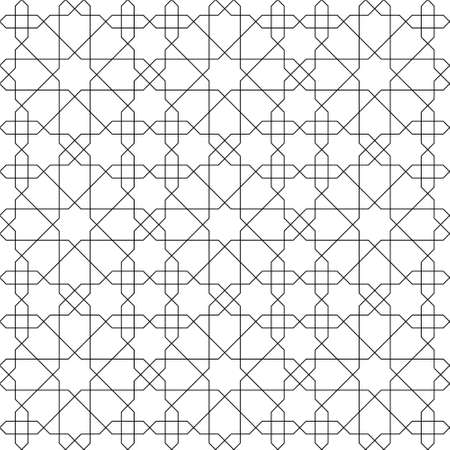 Seamless geometric ornament based on traditional islamic art. Black lines on white background. Great design for fabric, textile, cover, wrapping paper, background.Thin lines