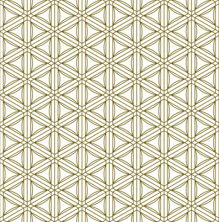 Japanese seamless Kumiko pattern in golden with average thin lines.