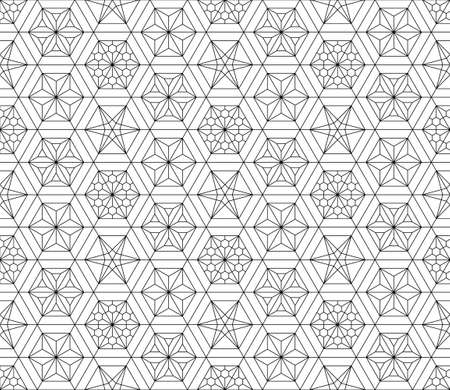 Japanese seamless Kumiko pattern in black with fine lines.A combination of four types of ornaments. Illusztráció