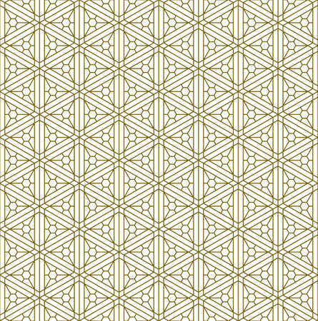 Japanese seamless Kumiko pattern in golden with .Thin lines.