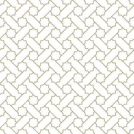 Seamless geometric ornament based on traditional islamic art.Brown color lines.Great design for fabric, textile, cover, wrapping paper, background.Thin lines. 向量圖像
