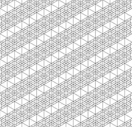 Seamless pattern based on Japanese woodwork craft Kumiko zaiku. Black and white.Thin lines. Ilustração