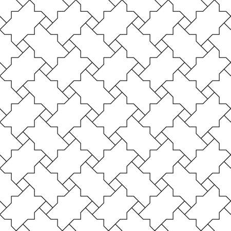Seamless geometric ornament based on traditional islamic art.Black color lines.Great design for fabric, textile, cover, wrapping paper, background.Thin lines. Ilustração